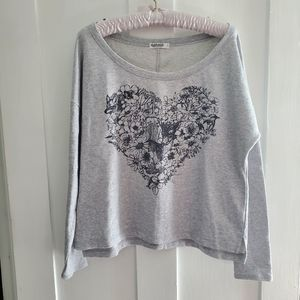 Grey Crewneck Sweater with Wildlife Heart